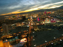 Night View of Las Vegas Strip from the Stratosphere Tower, Las Vegas, Nevada, USA. Night View of Las Vegas Strip from the Stratosphere Tower in Las Vegas, Nevada Stock Image