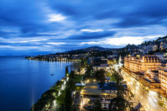 Night view of Le Montreux Palace Hotel & 2m2c Stock Image