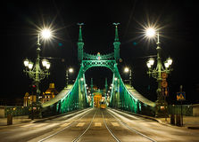 Night view of Liberty Bridge in Budapest, Hungary Stock Images