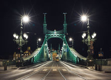 Night view of Liberty Bridge in Budapest, Hungary Royalty Free Stock Images