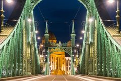 Night view of a Liberty bridge Szabadsag hid  in  Budapest,Hu Royalty Free Stock Photography