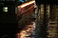 Night view of the sightseeing ship royalty free stock images