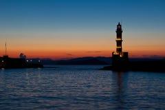 Night view Light house harbor Hania, Crete, Greece Stock Photos