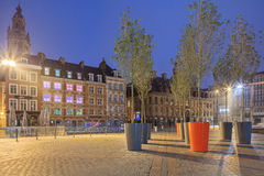 Night view of Lille old town central square Stock Photos