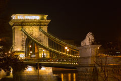 Night view lion statue at the Chain bridge, Budapest, Hungary Stock Photo