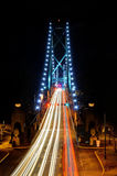 Night View of Lions Gate Bridge with car light trails Stock Photos