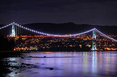 Night View of Lions Gate Bridge, Vancouver, BC, Canada Stock Image