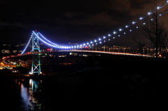 Night View of Lions Gate Bridge Royalty Free Stock Image