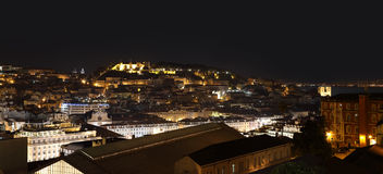 Night view of  Lisbon with Moorish Saint George Castle Stock Photo