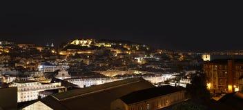 Night view of  Lisbon with Moorish Saint George Castle. Panoramic view of night Lisbon with Moorish Saint George Castle Sao Jorge Castle, Portugal Stock Photo