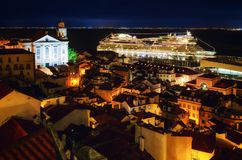 Night view of lisbon Portugal, alfama district royalty free stock image