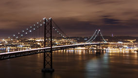 Night view of Lisbon and 25th of April Bridge Royalty Free Stock Image