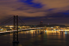 Night view of Lisbon and 25th of April Bridge Stock Image