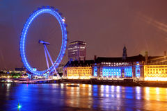 Night view of London Eye Stock Photography