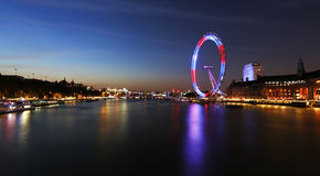 Night View of London Skyline, London Eye Present Stock Photography