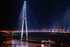 Night view of the longest cable-stayed bridge in the world Royalty Free Stock Photo