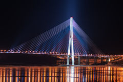 Night view of the longest cable-stayed bridge in the world Stock Photos