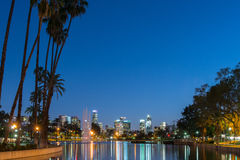 Night view of Los Angeles downtown. Sunset golden hour view of Los Angeles downtown at Echo Park Lake Stock Photos