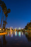 Night view of Los Angeles downtown. Sunset golden hour view of Los Angeles downtown at Echo Park Lake Royalty Free Stock Photography