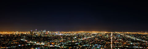 Night view of Los Angeles from Griffiths Observatory. Long exposure night view of Los Angeles, including highways and surrounding metropolitan area Stock Photo