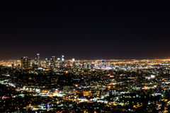 Night view of Los Angeles from Hollywood Hills Royalty Free Stock Images