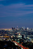 Night view of Los Angeles from Hollywood Hills. Long exposure night view of Los Angeles from Hollywood Hills, including highways and surrounding metropolitan Stock Image