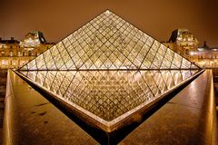 Night view of Louvre Art Museum, Paris, France. Royalty Free Stock Photos