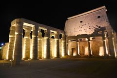 Luxor Temple at Night. Night view of Luxor Temple with night lights, Egypt Royalty Free Stock Photography