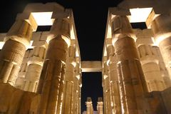 Luxor Temple at Night. Night view of Luxor Temple with night lights, Egypt Royalty Free Stock Image