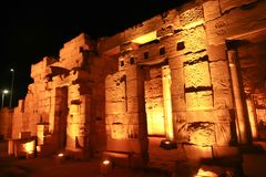 Luxor Temple at Night. Night view of Luxor Temple with night lights, Egypt Stock Photos