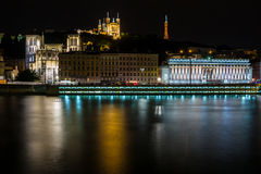 Night view from Lyon city near the Fourviere cathedral Stock Photo