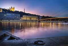 Lyon city blue hour Stock Photography