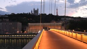 Lyon blue hour in front of Fourviere, France stock video footage