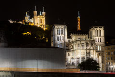 Night view of Lyon with the The La Fourviere Church stock photos