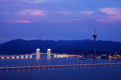 Night view of Macau tower convention and bridges Stock Images