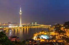 Night view of macau tower and sai van bridge at macau china Royalty Free Stock Photos