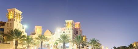 Night view of Madinat Jumeirah buildings reflections, Dubai Royalty Free Stock Photo
