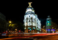 Night view of Madrid with Metropolis Building. Madrid, Spain - October 4, 2012: Night view of Madrid with Metropolis Building and Gran Via Street. It was Royalty Free Stock Photography