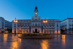 Night view in Madrid Puerta del Sol square Km 0 in Madrid, Spain stock images