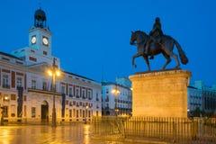 Night view in Madrid Puerta del Sol square Km 0 in Madrid, Spain stock image
