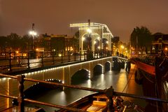 Magere Brug, Amsterdam. Night view of Magere Brug, Amsterdam, Netherlands royalty free stock images