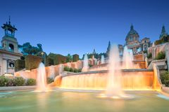 Night view of Magic Fountain in Barcelona Royalty Free Stock Photography