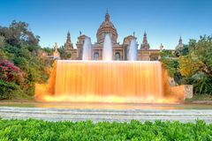 Night view of Magic Fountain in Barcelona Royalty Free Stock Photo