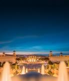 Night view of Magic Fountain in Barcelona Stock Image
