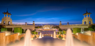 Night view of Magic Fountain in Barcelona Stock Photography