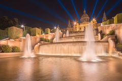 Night view of Magic Fountain in Barcelona Stock Photos