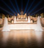 Night view of Magic Fountain in Barcelona Royalty Free Stock Images