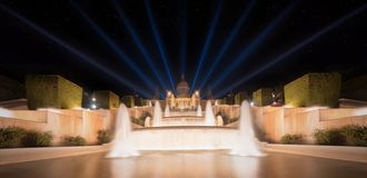 Night view of Magic Fountain in Barcelona Stock Image