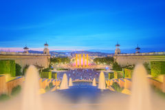 Night view of Magic Fountain in Barcelona Royalty Free Stock Photos