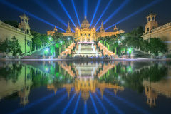 Night view of Magic Fountain in Barcelona Royalty Free Stock Image